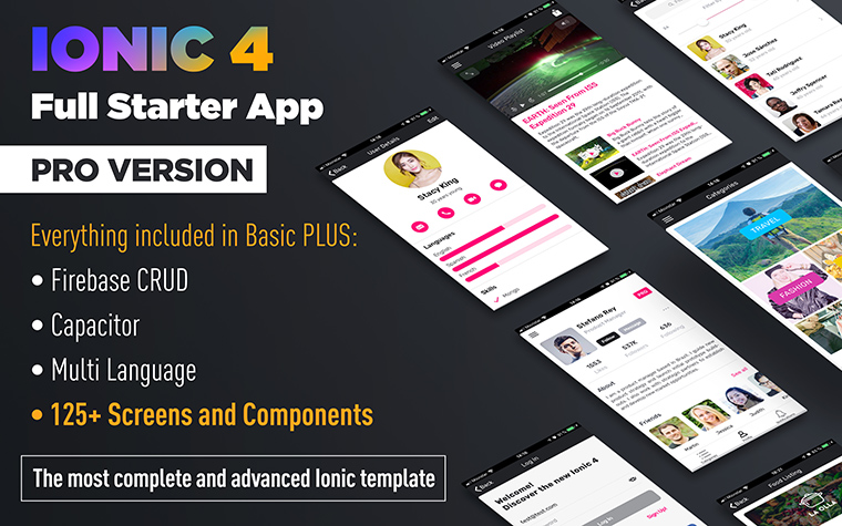 Ionic 4 Full Starter App - PRO version